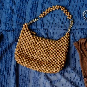Rare Vintage Wooden Beaded Purse